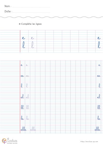 Exercice d'écriture cursive CP CE1   Écriture CP CE1 ...