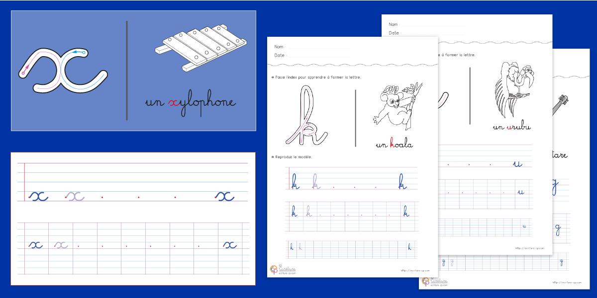 Apprendre à écrire l'alphabet en minuscule à imprimer | Écriture CP CE1 | Exercice d'écriture CP ...